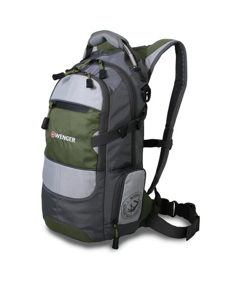 13024415 Рюкзак WENGER, серый/зеленый/серебристый, полиэстер 1200D PU, 23х18х47 см, 22 л. (13024415)