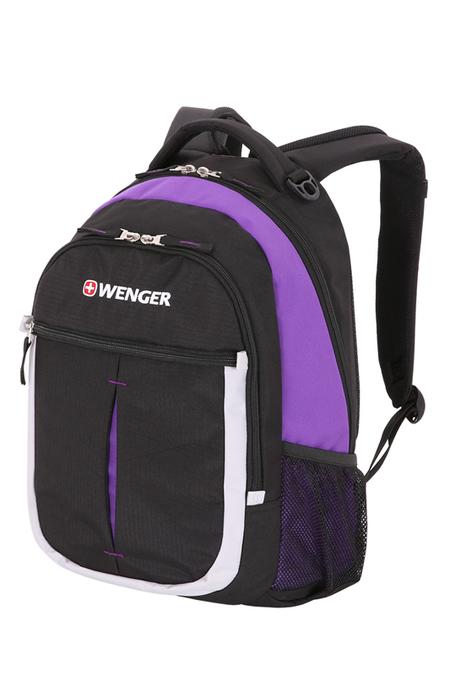 13852915 Рюкзак WENGER, чёрный/фиолетовый/серебристый, полиэстер 600D, 32х15х45 см, 22 л (13852915)