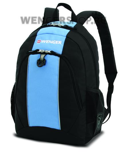 17222315 Рюкзак WENGER, чёрный/голубой, полиэстер, 32х14х45 см, 20 л.  (17222315)