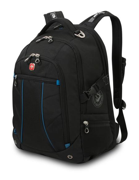 3118203408 Рюкзак WENGER, чёрный/синий, полиэстер 900D/рипстоп, 36x19x47 см, 32 л.  (3118203408)