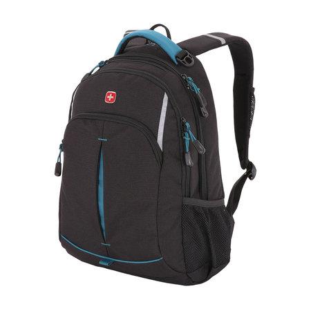 3165206408-2 Рюкзак WENGER, черный/бирюзовый, фьюжн/2 мм рипстоп, 32x15x46 см, 22 л (3165206408-2)
