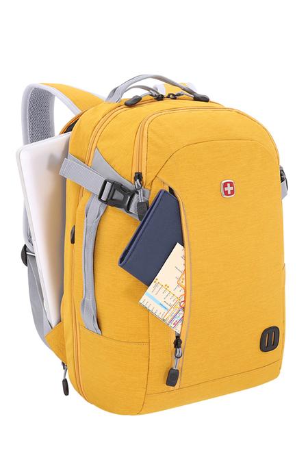 3555247416 Рюкзак WENGER 18,5'', желтый, ткань Grey Heather, 31x20x47 см, 29 л (3555247416)