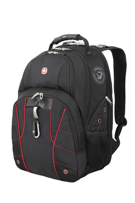6939201408 Рюкзак WENGER, чёрный/красный, полиэстер 900D/600D/искуственная кожа, 34x18x47 см, 29 л. (6939201408)